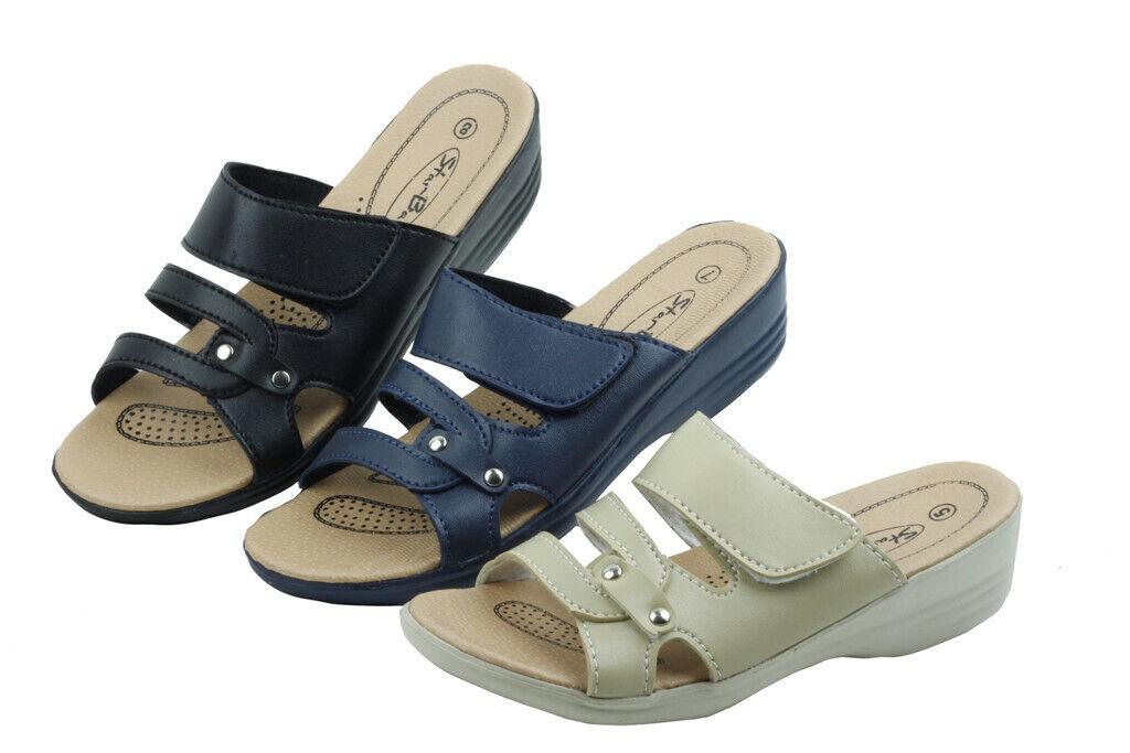 Women's Slip-On Low Wedge Comfort Sandals Hook and Loop Fast