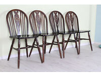 4 X OAK WHEELBACK CHAIRS GREAT TO UPCYCLE - CAN COURIER