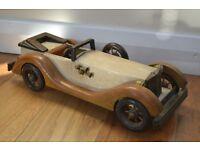 Retro model car, vintage wooden model, collectible toy, decorative model