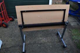 Beech Flip-Top Table Desk on Castors