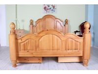 5 FT KINGSIZE BED SOLID PINE CHUNKY LIGHT COLOUR - CAN COURIER