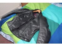 Motorcycle jacket, mens 48, real scotts make leather, great condition, not worn for years.