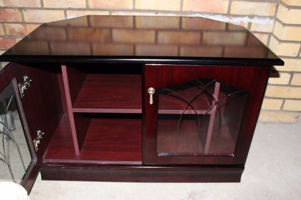 Wooden Tv Dvd Player Cabinet With Glass Doors In Hartford