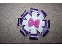 Purple handmade pram / car seat hood detachable bow flower CAN POST