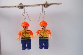 Lego Compatible Builder Figure Novelty Earrings w Sterling Silver Hooks - Quirky Gift!