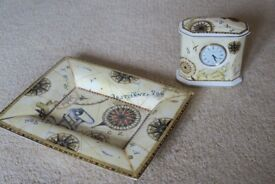 Lovely Wedgwood Bone China Atlas Clock and matching Trinket Tray