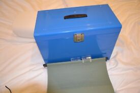 File Box with 5 Suspension Files and 2 Keys Steel Foolscap Blue
