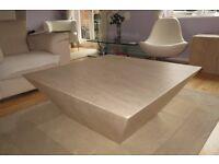 Elegant Contemporary Inverse Pyramid Marble Travertine Coffee Table - Beautiful Condition