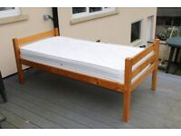 Single pine bed-frame and mattress