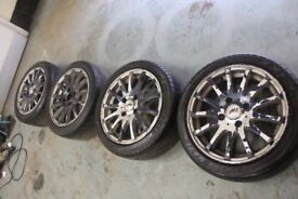 "GENUINE AEZ 15"" 4X108 ALLOY WHEELS + MATCHING TYRES FORD CITREON PEUGEOT"