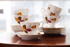 Cotswold Bone China Afternoon Tea Set Vintage Cake Plates Tea Cups Saucers Trio