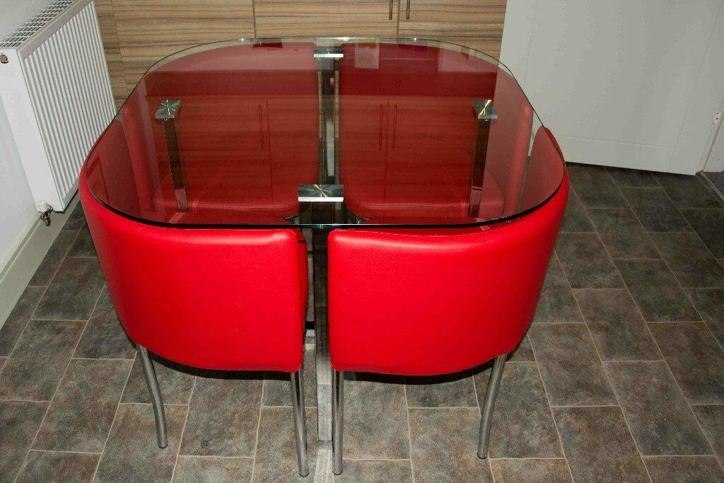 Algarve glass stowaway dining room table with red high for Stowaway dining table