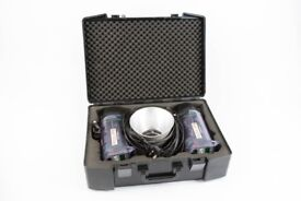 Elinchrom 1200RX 2 headed kit in hard case c/w std. reflectors & power cables