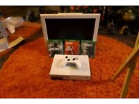 x-box one s, plus 19 inch white acoustic solutions tv, x box only 6 weeks old tv has dvd player