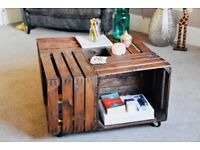 Handmade vintage / antique moving wooden crate coffee table