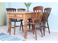 DELIVERY OPTIONS - ANTIQUE PINE FARMHOUSE TABLE + DRAWER & 4 CHAIRS SHABBY CHIC