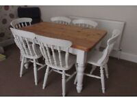 Country farmhouse solid pine table and six chairs