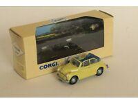 Corgi Classics Morris Minor Convertible die cast model car in lime green, 1:43 scale