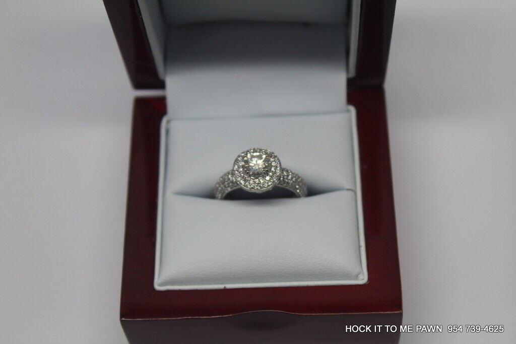 Duet Halo Diamond Engagement Ring in 14k White Gold (1.75 ct. tw.) GIA 4