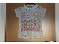 White Lace Top UK10 Size