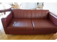 Brown leather sofa, neat boxy style, wooden legs, W1740 x D840 x H730