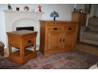 French rustic solid oak Side Board &Lamp table V.G.C.