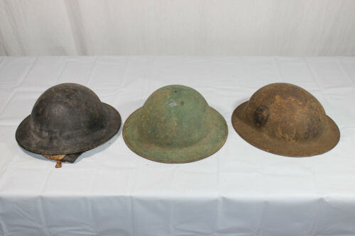 Lot of 3 US WW1 Helmets. 1 Unit Painted 1 Etched.