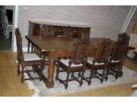 8ft antique oak refectory table and eight antique chairs