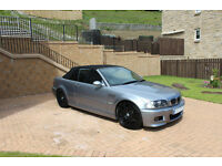 BMW M3 Convertible, 6 speed manual, 343 bhp, low mileage 72k, £10,795