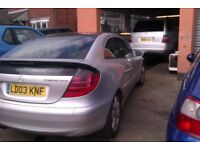 Mercedes Coupe 200 Kompressor Auto in silver. 136K miles. leather trim. Alloys and new tyres