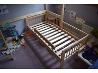 Wooden IKEA Gulliver child's bed including base and mattress