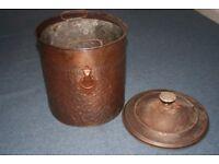 VINTAGE BRASS COAL BUCKET/BOX /BIN WITH INNER METAL LINING