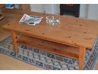large pine coffee table, good condition, approx 3 ft 6ins by 2ft 6ins. Self