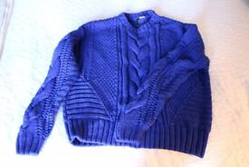 Royal blue cable knit jumper