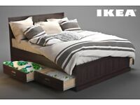 IKEA FJELL KING SIZE BED + HYLLESTAD MATTRESS + STORAGE DRAWERS + BEDSIDE TABLES