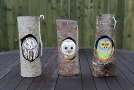 Painted Owls on Pebbles