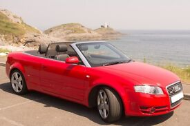 A4 Cabriolet,s-line, v low mileage,fdsh,missano red,black leather upholstery,cruise control.