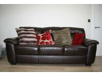 3 Piece Brown Leather Suite, 3 Seater, 2 Seater & Storage Pouffe