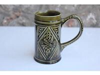 Vintage Ornate Green Ceramic Mug Knock Pottery Coffee Tea Traditional Irish Design Studio Pottery