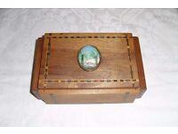 Vintage Inlaid Italian Trinket Jewellery Box Sorrento Ware 1920's Palm Emblem