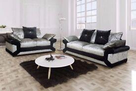 🌺🌺CHEAPEST PRICE OFFERED🌺 New Dino Crush Velvet 3 + 2 Sofa Or Corner Sofa -L and R Hand Corner