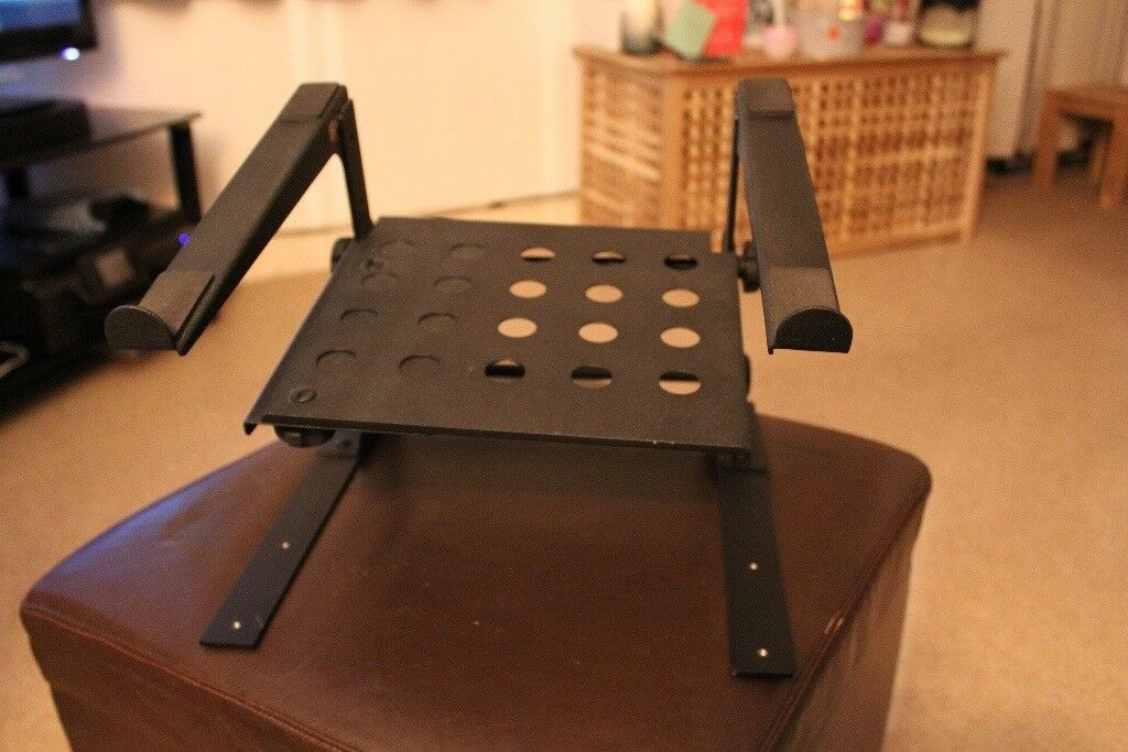 Power Dynamics Black Universal Laptop Stand with Shelf