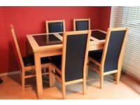 heavy beech and granite dining table and 5 chairs in superb condition,very little use .