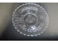 Vintage/Antique 1937 CORONATION OF KING GEORGE VI GLASS COMMEMORATIVE PLATE