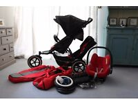 REFURBISHED, IMMACULATE Phil & Teds EXPLORER Double Tandem Pushchair Jogger WITH EXTRAS!