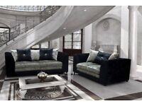 Stylish BRAND NEW black and silver crushed velvet sofa suite ,lovely 3 and 2 ,can deliver