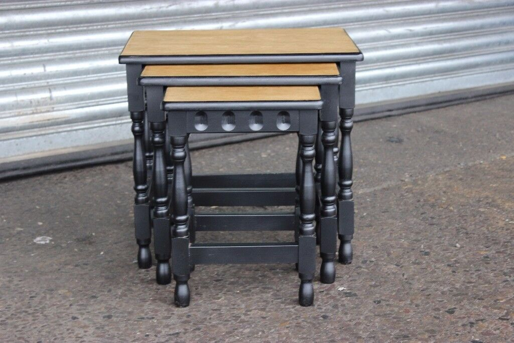 solid mid century Oak and ebonised old charm Nest Of Tables