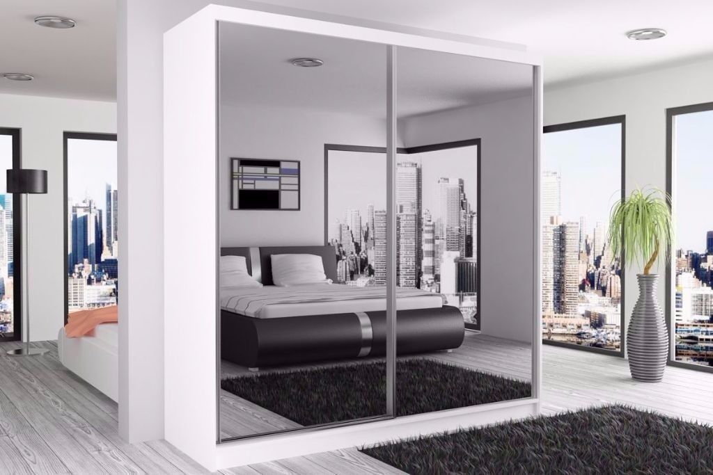 High Quality -- 2 Door Sliding Mirror Wardrobe -- 203 cm Wide -- Cheap Price -- Same Day Delivery