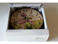 Small Italian themed Wall Clock (leaning tower of Pisa, Butterflies and flowers) MIP
