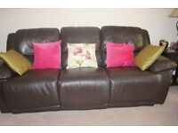 Leather brown recliner sofa and 2 armchairs. Superb condition! £700 ONO